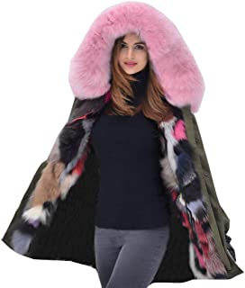 8931ef71a8a Aox Women Hood Coat Faux Fur Thicken Lined Overcoat Winter Camo Plus Size  Jacket Snow Parka