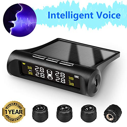 Jansite Tire Pressure Monitoring System Voice Wireless Smart Tire Safety Monitor, Solar Power TPMS Tire Pressure Monitoring System with 4 External Cap Sensors Real Time Pressure & Temperature Alerts