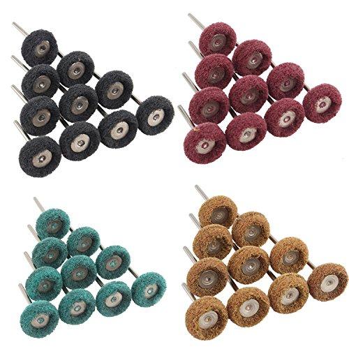 Futheda 40 piezas de 3 mm acabado de grano abrasivo,vástago de acero inoxidable pulido buffing rueda de pulido compuesto ruedas, juego de llantas, cepillo de alambre para herramienta rotativa Dremel
