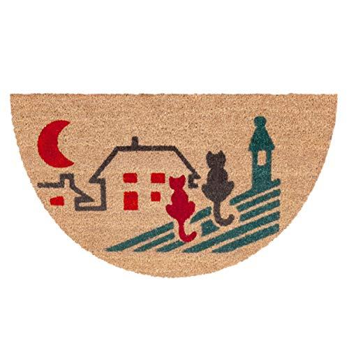 emmevi Felpudo de coco Semiluna de 38 x 68 cm, moderno, antideslizante, alfombra de entrada, modelo Maori Semiluna (C)