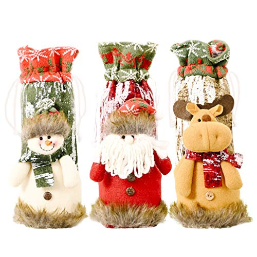 ABOOFAN - 3 bolsas para botellas de vino de Navidad, para botella de vino, para decoración de mesa