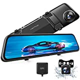 VanTop H612 12' 2.5K Mirror Dash Cam w/ Voice Control, GPS Tracking, IPS Full Touch Screen, Waterproof Backup Rear View Camera, Loop Recording, Night Vision, Parking Monitor for Cars
