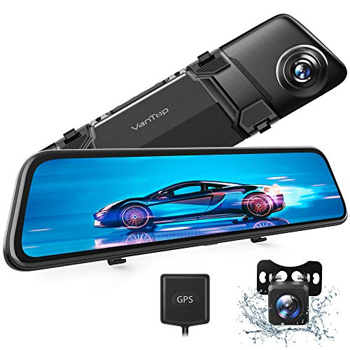 """VanTop H612 12"""" 2.5K Mirror Dash Cam w/ Voice Control, GPS Tracking, IPS Full Touch Screen, Waterproof Backup Rear View Camera, Loop Recording, Night Vision, Parking Monitor for Cars"""