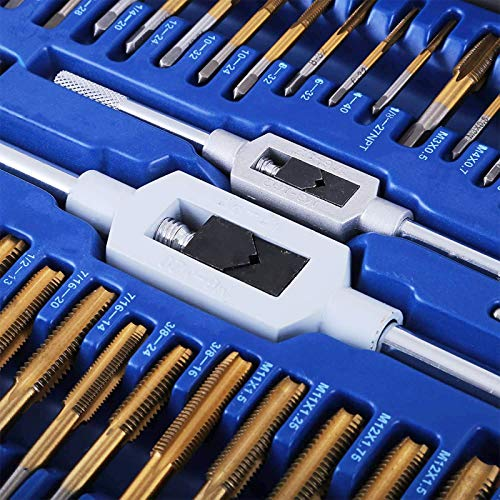86PC Tap and Die Set Combination Metric Tap and and Die Set Tungsten Steel Titanium SAE and Metric Tool