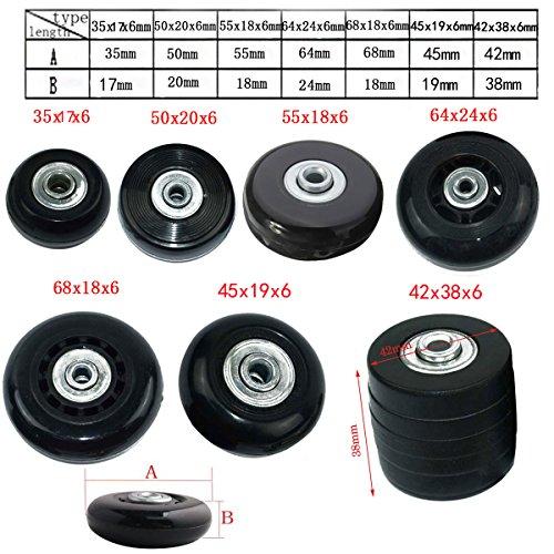 Miayaya 2 Ruedas Equipaje Reemplazo Maletas de viaje Ruedas Reparar Equipaje 42mm x 38mm 2 ruedas, 2 ejes, 2 tornillos, 2 llaves, 4 arandelas.