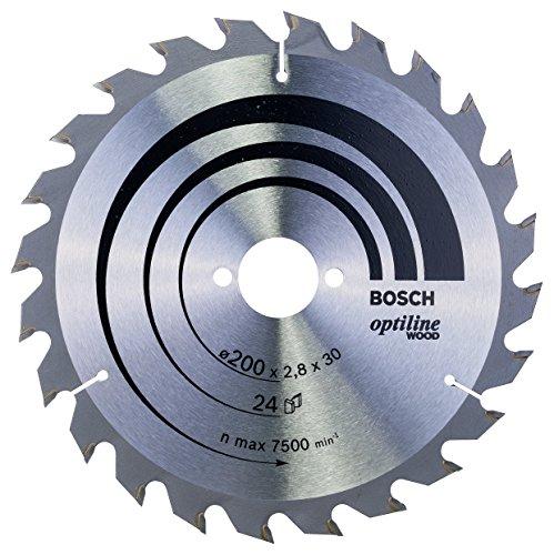 Bosch Lame de Scie Circulaire, 24 Dents, 30mm d'Alésage, 2.8mm Largeur de Coupe, 1.8mm Épaisseur du Corps, 200mm Diamètre