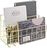 FUBAO 3 ranuras de metal para postales de hierro, organizador para correos, cartas, libros, tarjetas postales, periódicos, documentos, revistas, archivadores (dorado)