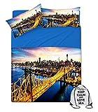tex family Bettwäsche-Set mit Digitaldruck, Tagesdecke New York mit Keep für Doppelbett