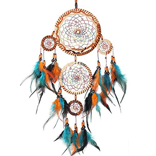 BONTHEE Traumfänger für Schlafzimmer Wanddekoration Handgemachte Traumfänger Ornament mit Perlen und Federn
