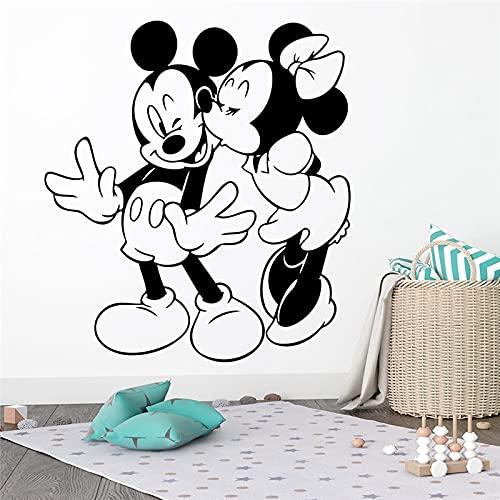 Película de dibujos animados lindo micrófono Mini ratón dulce pareja amor beso vinilo pared pegatina coche niños guardería dormitorio sala de estar decoración del hogar Mural