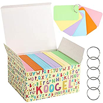 Koogel 480 Pcs Colored Index Cards 3 x 5 Inch Study Cards Colored Notecards on Ring Flash Cards for School Learning Memory Recipe Cards Game Card