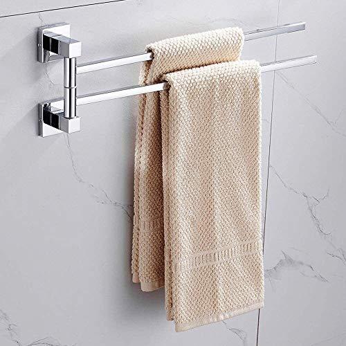 TRYSHA Toalla giratoria Carril 2 Nivel de acero inoxidable de baño toalla barras de mantenimiento de montaje en pared abatible hacia afuera de toallas Percha con fijación de tornillo for Bath Cocina (