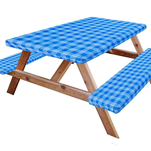 IGIFT 6#039 Reusable Picnic Table Bench Covers Vinyl Elastic Waterproof 72x28 Inch Outdoor Fitted Tablecloth Heavy Duty 3 Pieces Camping Patio Park Blue