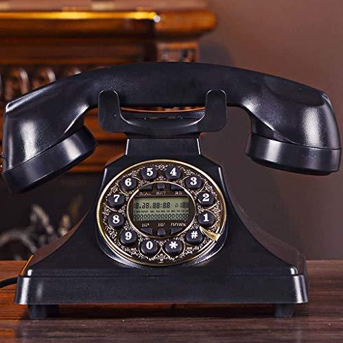 LDDZB Teléfono antiguo estilo europeo vintage retro con cable para el hogar fijo teléfono fijo V (color: rosa, tamaño: L220 mm x W130 mm) (color: negro, tamaño: L220 mm x W130 mm)