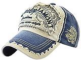 Photo de MINAKOLIFE Homme Vintage affligé coton lavé casquette de baseball réglable papa chapeau (Bleu)