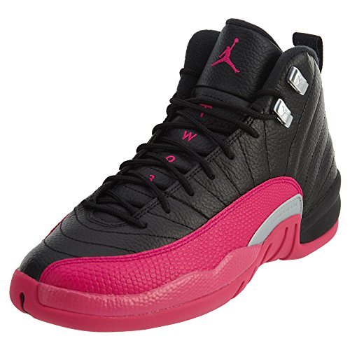 Jordan 12 Retro Big Kids (Black/Deadly Pink-Metallic Silver, 5)