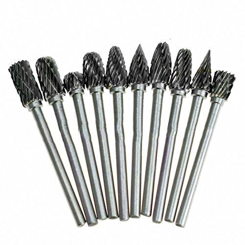 Metalen diamant slijpen houtbewerking frezen 10 stks 1/8 wolfraam hardmetaal 3x6 mm Boor Bits roterende bramen voor Dremel Boor
