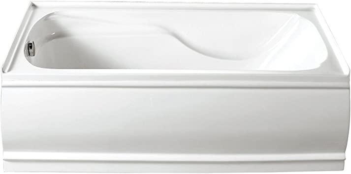 Kingston Brass Vtde603221l 60 Inch Contemporary Alcove Acrylic Bathtub With Left Hand Drain And Overflow Holes White Amazon Com