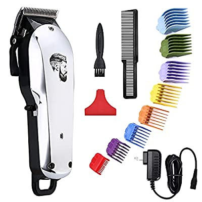 Professional Cordless Hair Clipper for Men Hair Haircuttings Kit Mustache Body Grooming Kit Rechargeable Hair Trimmer for Men Stylists Barbers Kids Home (silver)