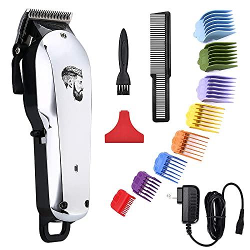 Cortador de cabelo sem fio profissional para homens Kit de corte de cabelo bigode kit de cuidados corporais com aparador de cabelo recarregável USB para homens estilistas barbeiros crianças casa, Prata