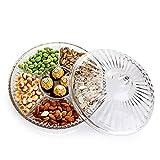 ETDWA Juego de bandejas multifuncionales para Servir refrigerios de 12.6 Pulgadas y 6 seccionales con Tapa, Hecho de acrílico Transparente como el Cristal, Adecuado para Comedor o Sala