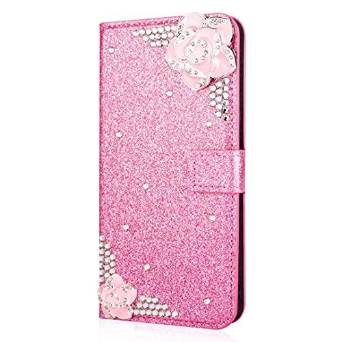 Funda para iPhone 13 mini, piel sintética con purpurina hecha a mano con diamantes brillantes, hebilla, gemas, cartera, funda protectora con ranuras para tarjetas, magnética para iPhone 13 mini, rosa