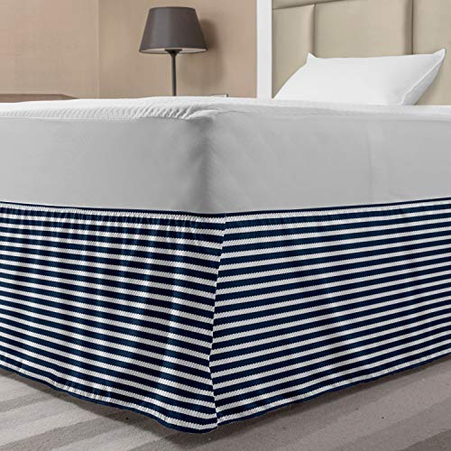Ambesonne Blue and White Bed Skirt, Yacht Navy Marine Themed Rope Stripe Pattern on Blue Toned Background, Elastic Bedskirt Dust Ruffle Wrap Around for Bedding Decor, Twin/Twin XL, White Blue