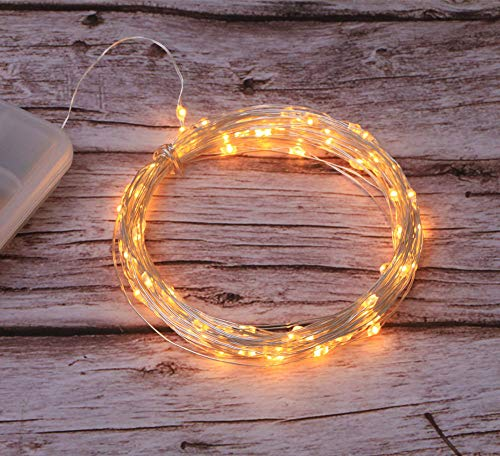 Fairy Lights lamp Battery with Remote Control 100pcs LED Copper Wire lamp String dimmable IP65 Waterproof Flashing lamp for Christmas Decoration Wedding Home Party Bedroom,Warm White