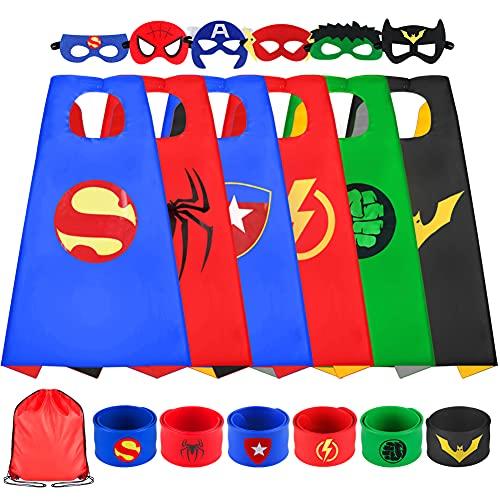 Sinoeem Superhelden Kostüm Kinder 6 Stücke Spielzeug Kostüm mit Maske mit Schnapparmband ab 3-12 Jahren Kinderkleidung Junge Mädchen Geschenke für Kindergeburtstag, Halloween oder Karneva (6 Packs)