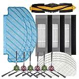 Achort Accesorios de Repuesto para Ecovacs OZMO T8 Robot Aspirador, Kit Accesorios de Recambio para Barredora con 1 Cepillo Principal, 3 Pares Cepillos Laterales, 3 Fltro/Trapo, 5 Trapos Desechable