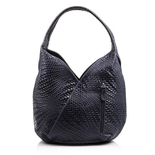 Firenze Artegiani Bolso Shopping Bag de Mujer en Piel auténtica, Grabado con Motivo Trenzado geométrico y Lacado, 33 cm, Azul Oscuro