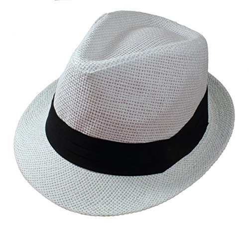 Gelante Summer Fedora Panama Straw Hats with Black Band M215-White-L/XL
