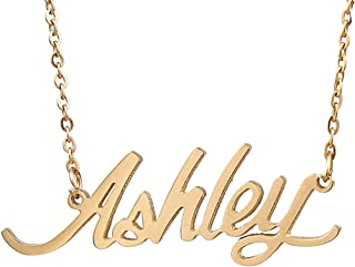 AIJIAO Unisex Personalized Nameplate Necklace Pendant My Name Custom Of Stainless Steel