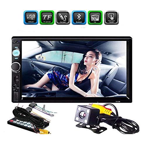 Velidy Reproductor de radio digital para coche con pantalla táctil LCD doble DIN de 7 pulgadas, Bluetooth, espejo, receptor FM, con ranura USB/AUX-in/TF