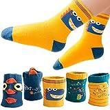 T WILKER 5 Pares de Calcetines para Niños, Los Patrones de Dibujos Animados de Algodón Calcetines para Niños de 1 a 12 Años
