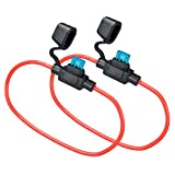 MUYI 2 Set Mini Blade Fuse Holder 14 Gauge Waterproof Pigtail Inline Fuse Holder with 15A ATM Fuses