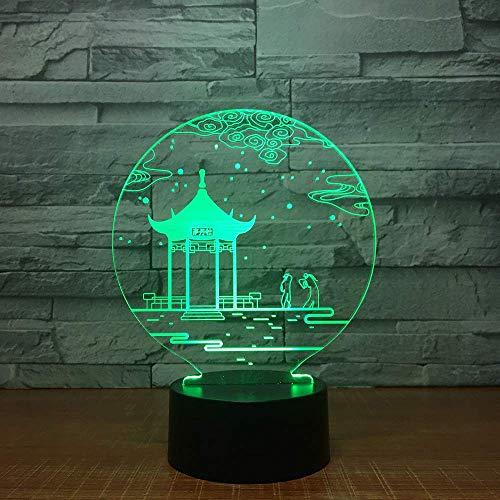 Nachtlichter Alter Pavillon 3D-Lampe Tischlampe 7 Farben Wechsel Schreibtischlampe 3D-Lampe Neuheit Led Nachtlichter Led Licht Valentinstag Geschenk