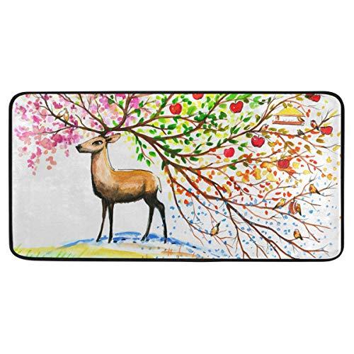 Bardic anti-slip deurmat bruin hert met hoorn in de herfst seizoenen deurmat machine wasbare slaapkamermat voor het wonen dineren kamer slaapkamer keuken,50.8x99cm
