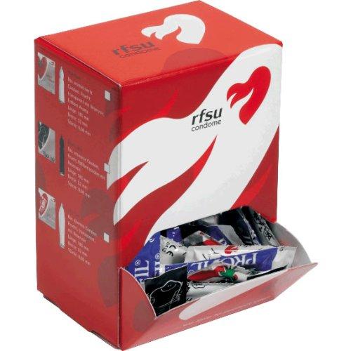 RFSU Kondome Profil - 100 Konturierte Kondome - stabile Spenderbox - Kondomvorrat