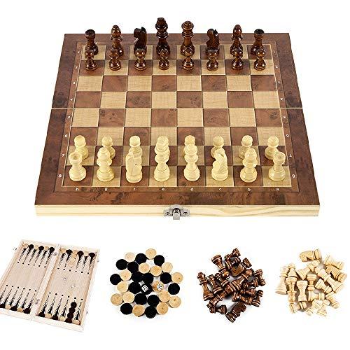 ATopoler - Ajedrez de madera 3 en 1, plegable, tablero de ajedrez portátil para viajes, juego de mesa, juguetes educativos para adultos y niños