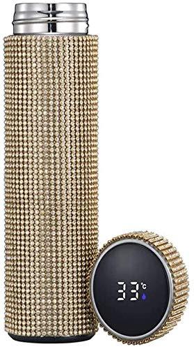 Yodensity - Borraccia termica con brillantini, in acciaio INOX, 500 ml, divertente e divertente fai da te (oro)