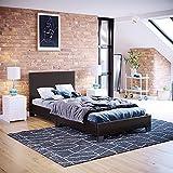 Vida Designs Cadre de lit Simple Lisbon en Similicuir capitonné avec tête de lit et Pied de lit Bas Marron 91 cm