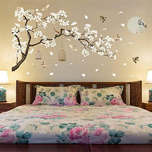 Amaonm Chinese Style White Flowers Black Tree and Flying Birds Wall Stickers Removable DIY Wall Art...