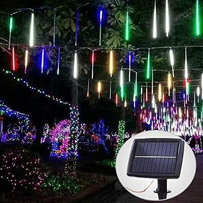Solar Meteor Shower Lights Outdoor, Raindrop Lights,10 Tubes 240 LEDs Rain Lights Decorative for Room Garden,Party,Wedding,Home,Halloween,Christmas Decor(Multicolor)