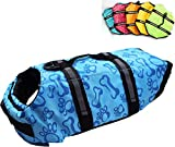 Dog Life Jacket Easy-Fit Adjustable Belt Pet Saver Swimming Safety Swimsuit Preserver with Reflective Stripes for Doggie (L, Blue)