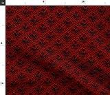Spoonflower Stoff – Totenkopf Damast Rot Schwarz Vögel