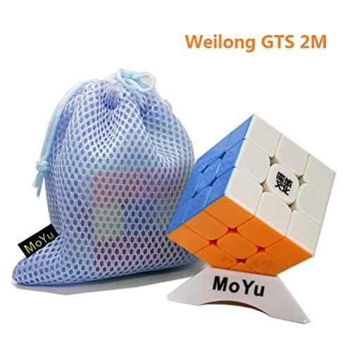 OJIN MoYu WEILONG GTS 2M Weilong GTS 2 Magnético V2 Mejorado Cubo de Velocidad 3x3 Smooth Magic Cube Puzzle Rompecabezas Juguetes con una Bolsa de Cubo y un trípode de Cubo (Sin Etiqueta)