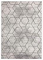 Luxe Weavers セレナ アブストラクト アイボリー エリアラグ 5' x 7' グレー