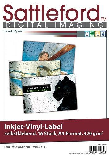 Sattleford Inkjet Vinyl Label: 16 Vinyl-Klebefolien für Inkjet-Drucker, wetterfest, DIN A4, weiß (Vinylfolie)