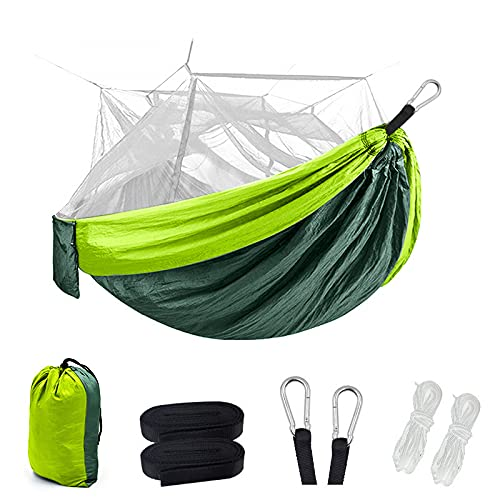 Sitangyan Double Camping Hammock with Mosquito Net, Portable Parachute Nylon Hiking Tree Hammock, Travel Outdoor Equipment and Camping Hammock (260 * 140)